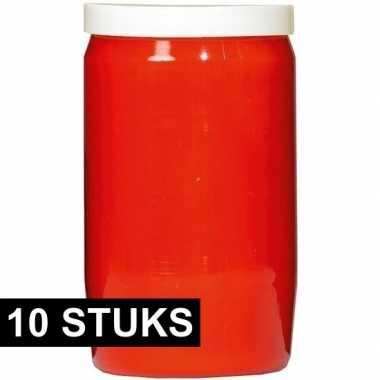 10x rode grafkaarsen/gedenklichten 6 x 10 cm 3 dagen
