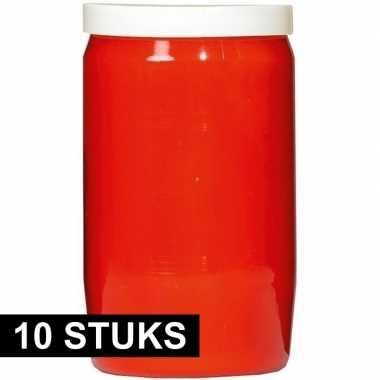 10x rode grafkaarsen/gedenklichten 7 x 18 cm 9 dagen