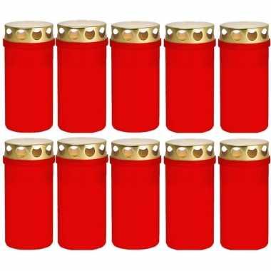 10x rode grafkaarsen/gedenklichten met deksel 6 x 12cm 2 dagen