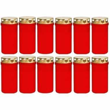12x rode grafkaarsen/gedenklichte met deksel 6 x 12,6 cm 2 dagen