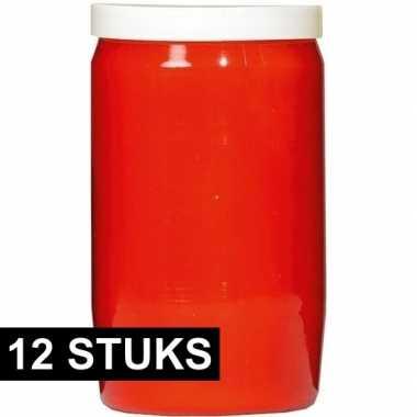 12x rode grafkaarsen/gedenklichten 6 x 10 cm 3 dagen