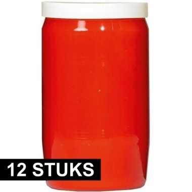 12x rode grafkaarsen/gedenklichten 7 x 18 cm 9 dagen