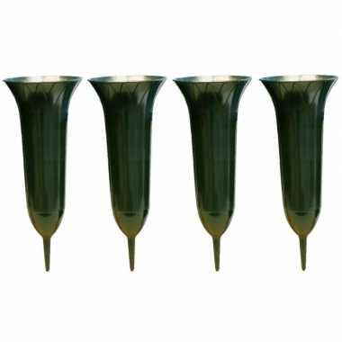 4x groene kunststof grafvazen 31 cm