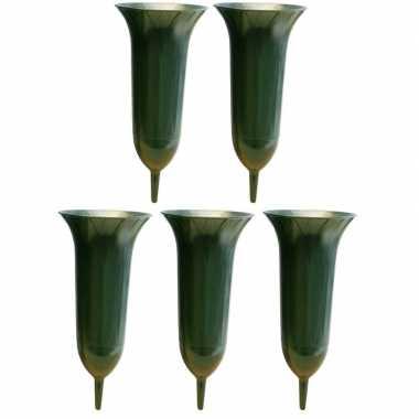 5x groene kunststof grafvazen 26 cm