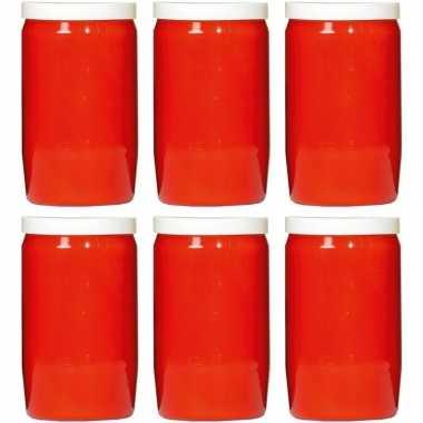6x rode grafkaarsen/gedenklichten 7 x 18 cm 9 dagen