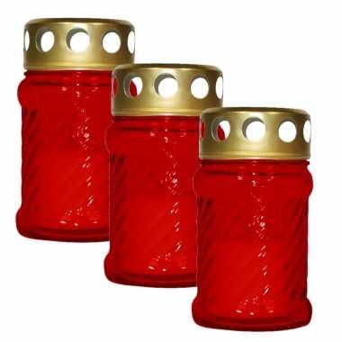 6x stuks grafkaarsen/gedenklichten met deksel rood 7 x 12 cm 10 uren brandtijd
