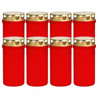 8x rode grafkaarsen/gedenklichten met deksel 6 x 12,6 cm 2 dagen