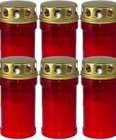 6x rode grafkaarsen gedenklichten met deksel 7 x 14 5 cm 2 5 dag