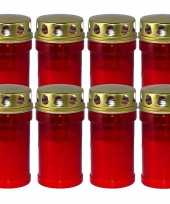 8x rode grafkaarsen gedenklichten met deksel 7 x 14 5 cm 2 5 dag