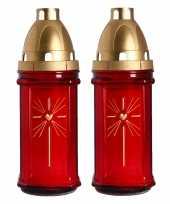 Set van 2x stuks horror decoratie grafkaars gedenklicht met deksel rood 8 x 22 cm 3 dagen brandtijd