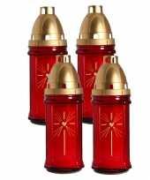 Set van 4x stuks horror decoratie grafkaars gedenklicht met deksel rood 8 x 22 cm 3 dagen brandtijd